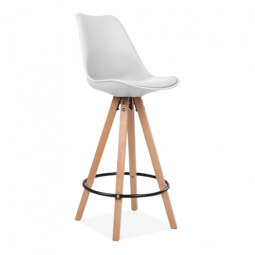Eames Inspired Soft Pad Bar Stool with Backrest, Pyramid Natural Wood Leg, White 75cm