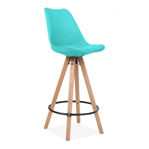 Eames Inspired Soft Pad Bar Stool with Backrest, Pyramid Natural Wood Leg, Turquoise 75cm