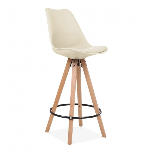 Eames Inspired Soft Pad Bar Stool with Backrest, Pyramid Natural Wood Leg, Cream 75cm