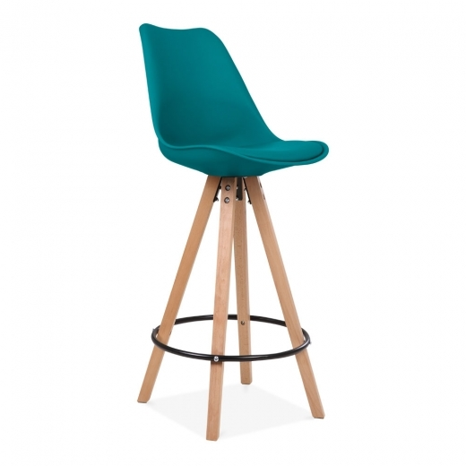 Eames Inspired Soft Pad Bar Stool with Backrest, Pyramid Natural Wood Leg, Marine Blue 75cm