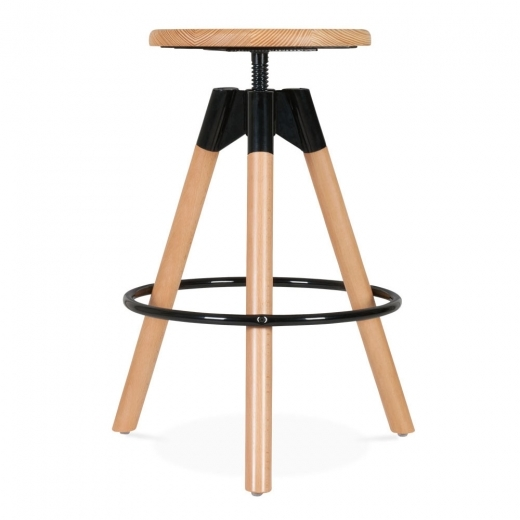 Cult Living Hamilton Swivel Bar Stool, Solid Pine Wood, Natural 53-68cm - Clearance Sale