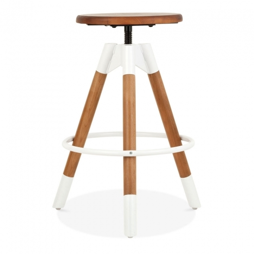 Cult Living Hamilton Swivel Bar Stool, Solid Pine Wood, White 61-75cm