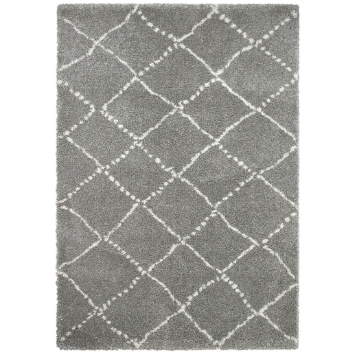 Think Rugs Royal Nomadic Shaggy Floor Rug, Pure Polypropylene, Grey Diamond