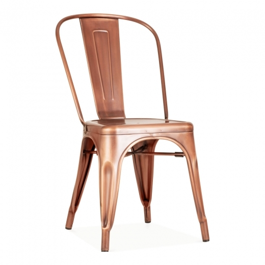 Xavier Pauchard Tolix Style Metal Side Chair - Light Copper