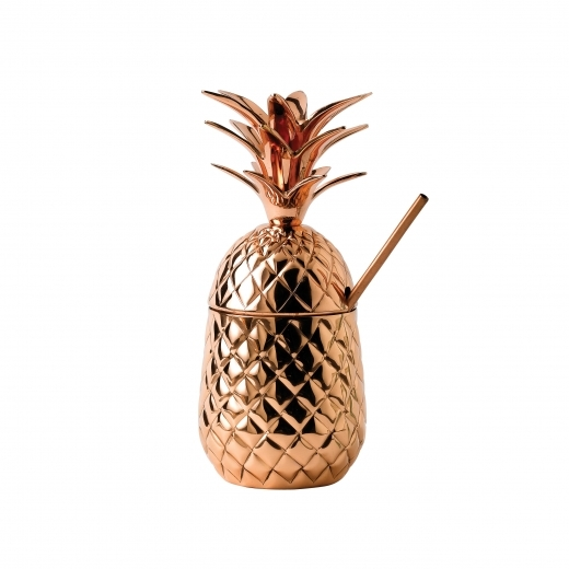 Cult Living Pineapple Shaped Cocktail Server with Lid, Copper 65cl