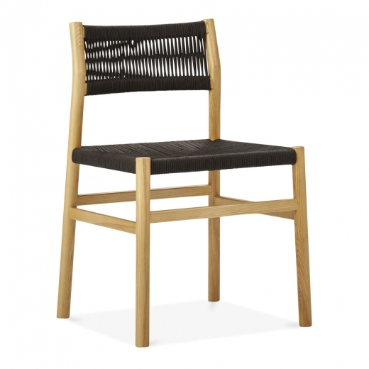 Cult Design Southbank Wooden Dining Chair, Black Rattan Seat, Natural