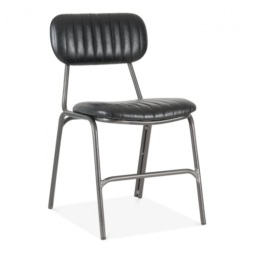 Cult Living Oscar Metal Dining Chair, Faux Leather Upholstered Seat, Black