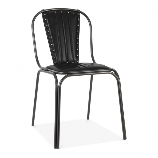 Cult Living Whitney Leather Upholstered Studded Dining Chair - Black