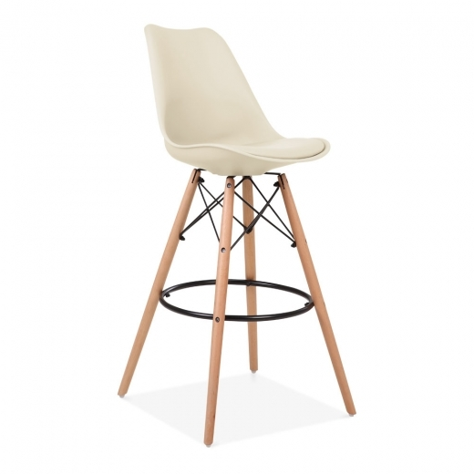Eames Inspired Soft Pad Bar Stool with Backrest, DSW Style Natural Wood Leg, Cream 75cm