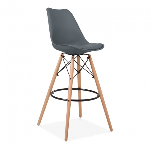 Eames Inspired Soft Pad Bar Stool with Backrest, DSW Style Natural Wood Leg, Grey 75cm