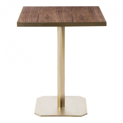 Kai Design Raleigh Square Café Table, Walnut Effect Top, Square Base