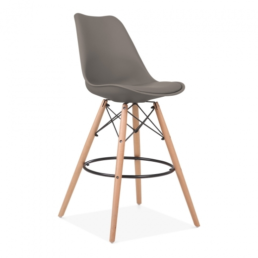 Eames Inspired Soft Pad Bar Stool with Backrest, DSW Style Natural Wood Leg, Warm Grey 65cm