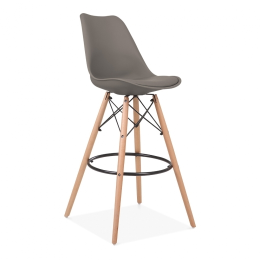 Eames Inspired Soft Pad Bar Stool with Backrest, DSW Style Natural Wood Leg, Warm Grey 75cm