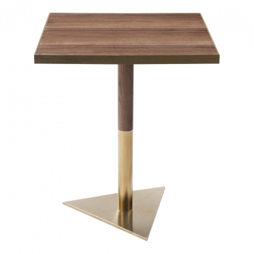 Kai Design Raleigh Square Café Table, Walnut Effect Top, Triangle Base