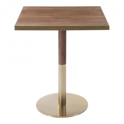 Kai Design Raleigh Square Café Table, Walnut Effect Top, Round Base