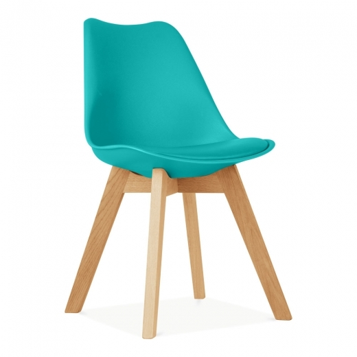 Eames Inspired Turquoise Dining Chairs With Solid Oak Crossed Wood Leg Base