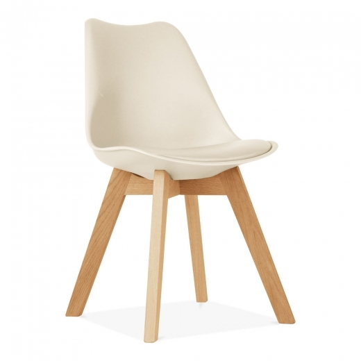 Eames Inspired Cream Dining Chairs With Solid Oak Crossed Wood Leg Base