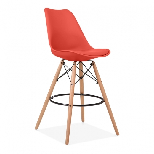 Eames Inspired Soft Pad Bar Stool with Backrest, DSW Style Natural Wood Leg, Red 65cm