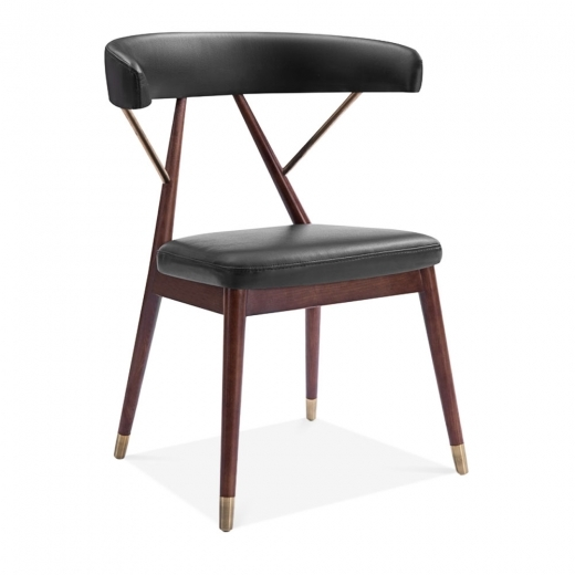 Kai Design Reysenn Wooden Dining Chair, Faux Leather Upholstered Seat, Black