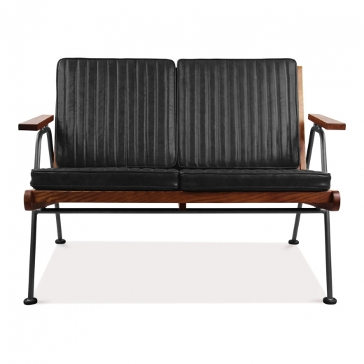Cult Living Wickham Industrial 2 Seater Small Sofa, Faux Leather Seat, Black
