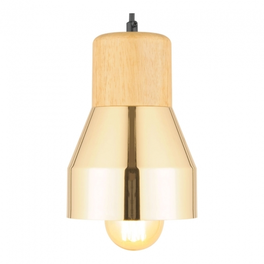 Cult Living Laval Metal and Wood Pendant Light, Gold