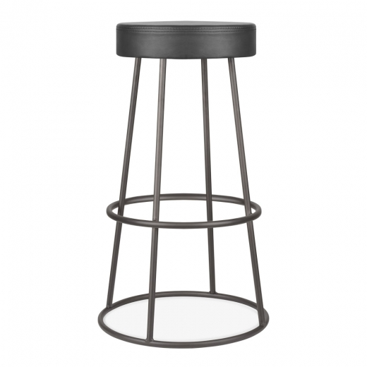 Cult Living Truss Metal Bar Stool, Faux Leather Seat, Rustic 79cm