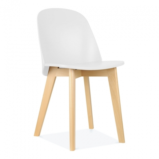 Cult Living Dilla Plastic Seat Dining Chair, Natural Wood Legs, White