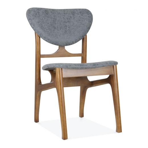 Cult Living Cabin Retro Dining Chair, Solid Ash Wood, Grey Faux Leather