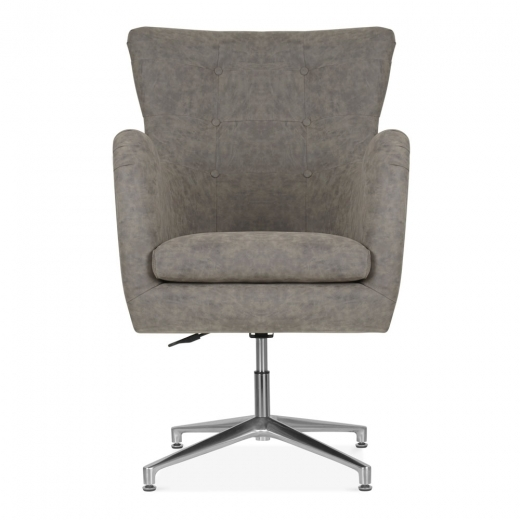Cult Living Walter Swivel Lounge Chair, Faux Leather Upholstered, Brown