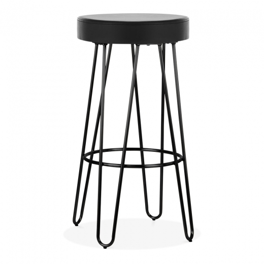 Cult Living Hairpin Metal Bar Stool, Black Faux Leather Seat, Black 75cm