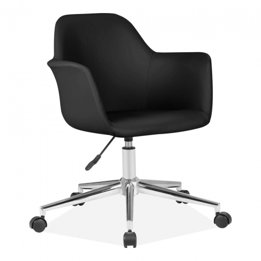 Cult Living Elmer Faux Leather Upholstered Office Chair, Black