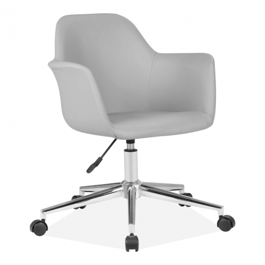 Cult Living Elmer Faux Leather Upholstered Office Chair, Grey