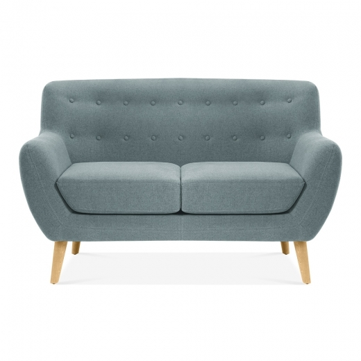 Cult Living Trent 2 Seater Small Sofa, Wool Touch Fabric, Light Blue
