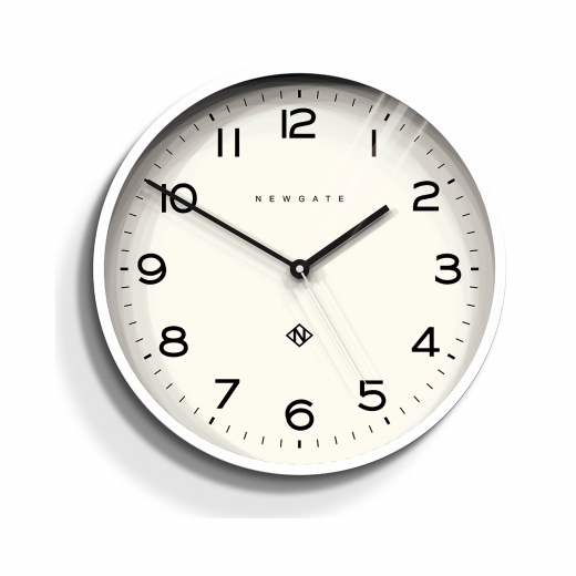 Newgate Number Three Echo Wall Clock, Pebble White