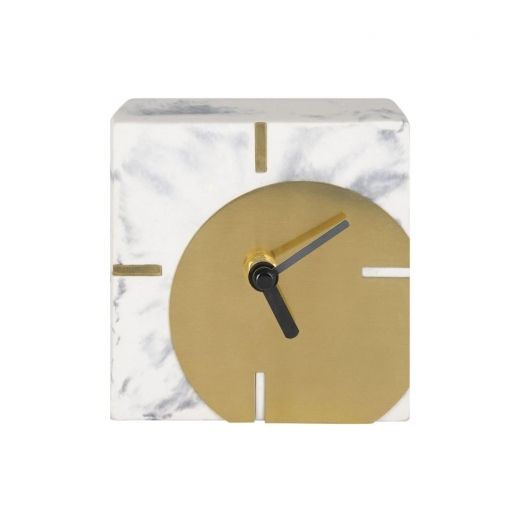 Cult Living Zuma Square Concrete Desk Clock, Marble Effect and Gold