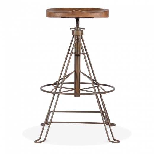 Cult Living Roxbury Metal Bar Stool, Mango Wood Seat, Rustic 70-87cm