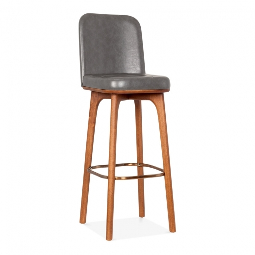 Cult Living Winchester Leather Upholstered Bar Stool with Backrest, Grey 75cm