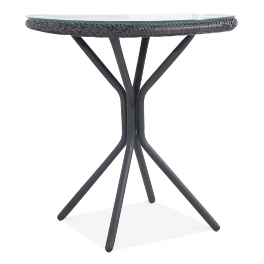 Cult Living Waterloo Outdoor Round Bistro Table, Black Rattan
