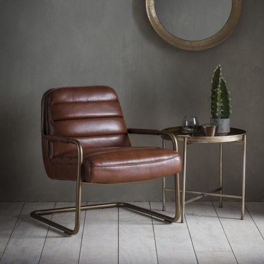 Cult Living York Lounge Chair, Leather Upholstered, Brown