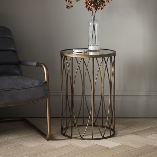 Cult Living Xander Modern Cage Side Table, Antique Gold