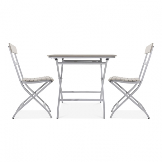 Cult Living Carnaby 3 Piece Foliding Patio Set, Grey Polywood