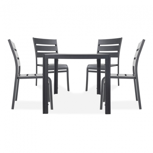 Cult Living Atlanta 5 Piece Outdoor Dining Set, Black Polywood