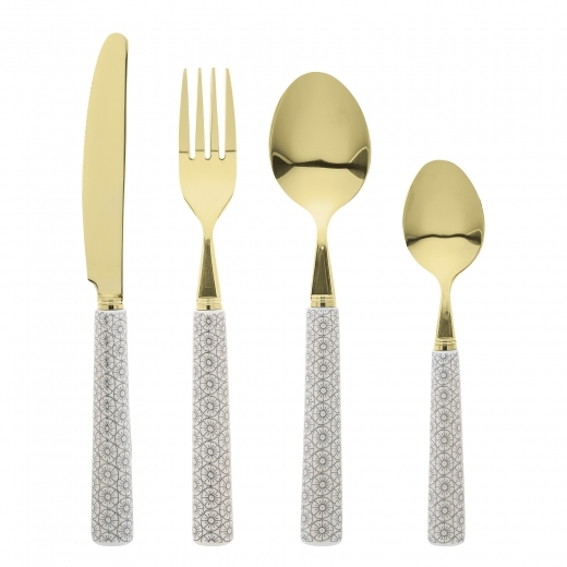 Cult Home Cécile 4 Piece Cutlery Set, Grey and Gold