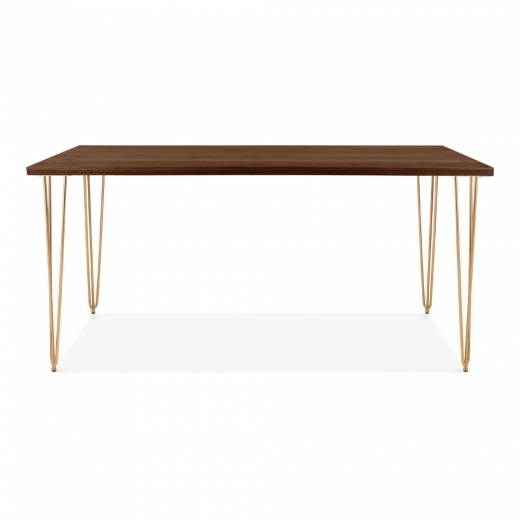 Cult Living Hairpin Rectangular Dining Table, Solid Elm Wood Top, Brass 160cm