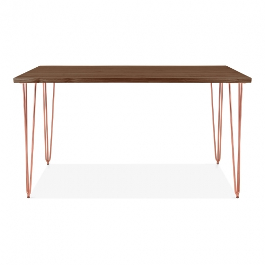 Cult Living Hairpin Rectangular Dining Table, Solid Elm Wood Top, Copper 140cm