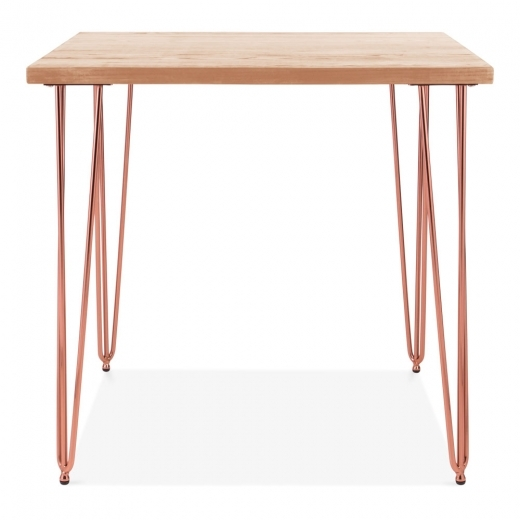 Cult Living Hairpin Square Dining Table, Solid Elm Wood Top, Copper 80cm