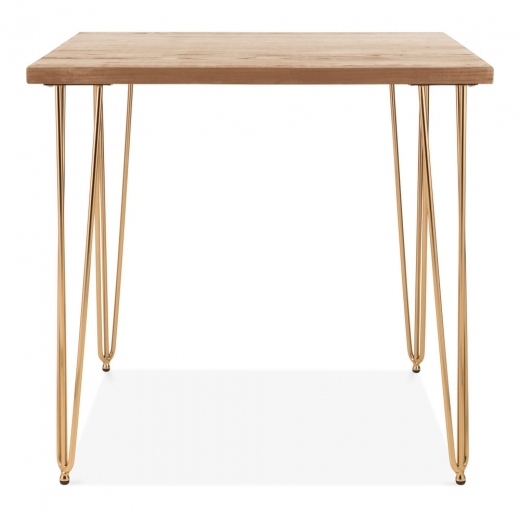 Cult Living Hairpin Square Dining Table, Solid Elm Wood Top, Brass 80cm