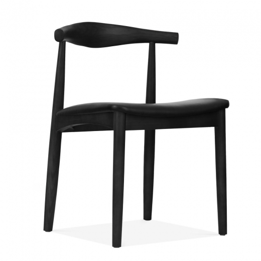 Danish Designs Elbow Wooden Dining Chair, Solid Ash Wood, Black