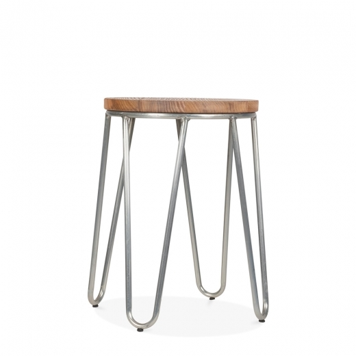 Cult Living Hairpin Stool with Natural Wood Seat - Galvanised 46cm