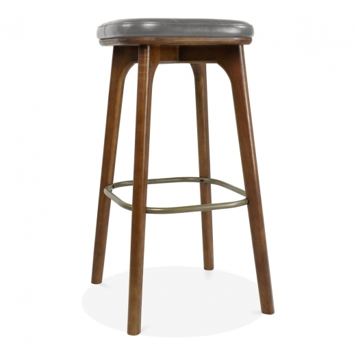 Cult Living Winchester Solid Wood Bar Stool, Faux Leather Upholstered, Grey 75cm - Clearance Sale